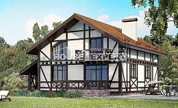 155-002-R Two Story House Plans and mansard with garage in front, economical House Building