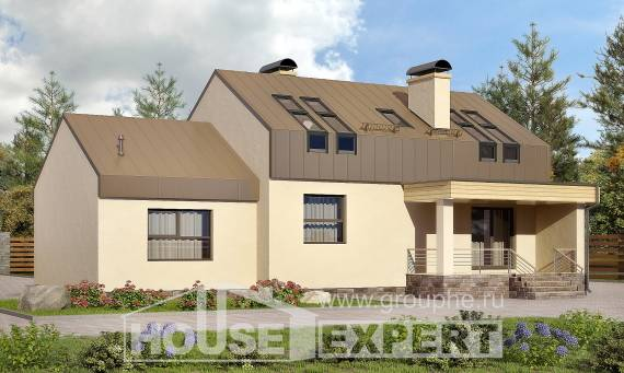 150-015-L Two Story House Plans with mansard with garage, best house Building Plan