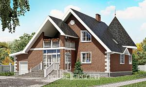 220-002-L Two Story House Plans and mansard with garage in front, a simple House Blueprints