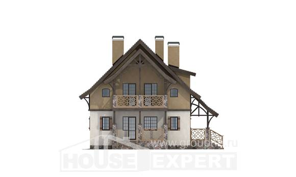 180-014-L Two Story House Plans with mansard roof, cozy Dream Plan