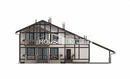 250-002-L Two Story House Plans with mansard roof with garage in front, luxury House Building