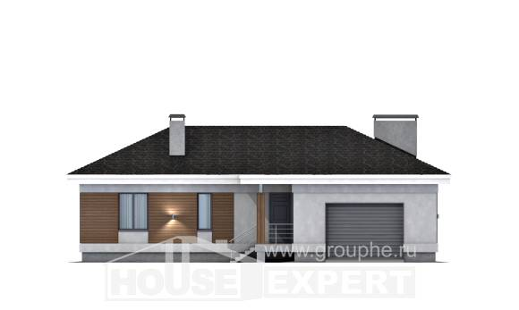 165-001-R One Story House Plans with garage under, a simple Home House