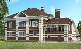 505-002-L Three Story House Plans with garage in back, big Timber Frame Houses Plans