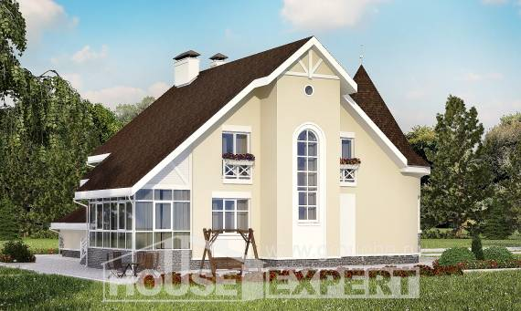 275-001-L Two Story House Plans with mansard roof and garage, a huge Villa Plan