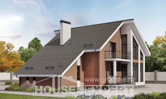 200-007-R Two Story House Plans and mansard with garage in front, luxury Building Plan
