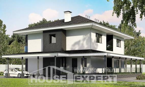 245-002-R Two Story House Plans with garage, classic Floor Plan