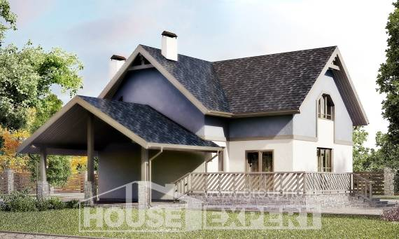 150-011-R Two Story House Plans and mansard with garage in front, inexpensive House Planes