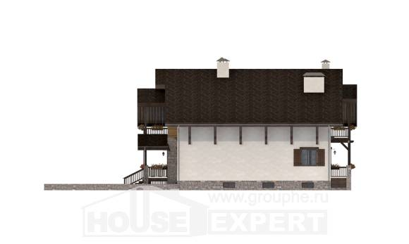 400-004-R Three Story House Plans with mansard with garage under, big Cottages Plans