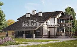 250-002-R Two Story House Plans with mansard roof and garage, luxury Custom Home Plans Online