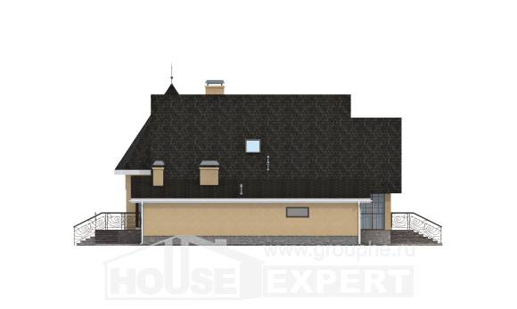 250-001-L Two Story House Plans and mansard with garage in back, best house Construction Plans