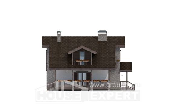 150-004-L Two Story House Plans with mansard, cozy Tiny House Plans
