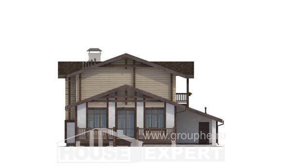 190-004-R Two Story House Plans with mansard roof with garage under, modern Cottages Plans