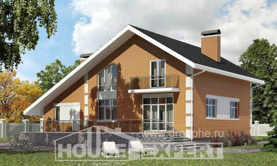 190-006-R Two Story House Plans with mansard roof with garage under, spacious Design House