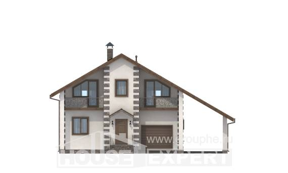 150-003-L Two Story House Plans and mansard with garage under, a simple House Plans