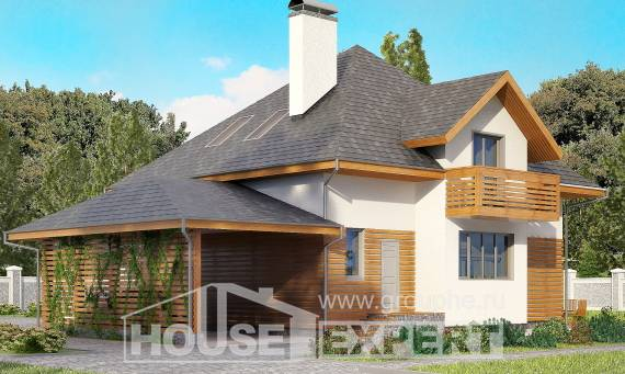 155-004-R Two Story House Plans with mansard roof with garage, modern Dream Plan