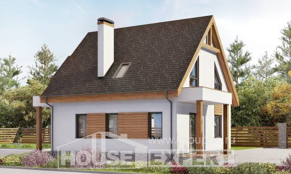 120-005-R Two Story House Plans with mansard roof with garage, best house Tiny House Plans