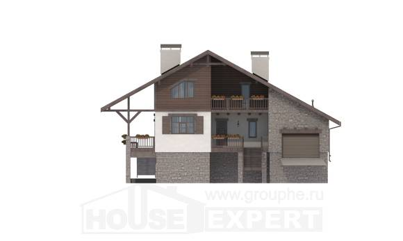 300-003-R Three Story House Plans with mansard roof with garage in back, luxury House Building