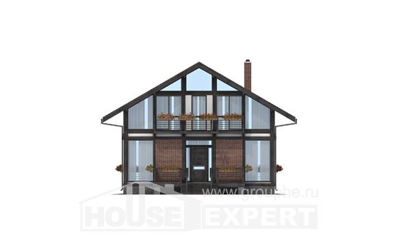 170-007-R Two Story House Plans with mansard, economical Timber Frame Houses Plans