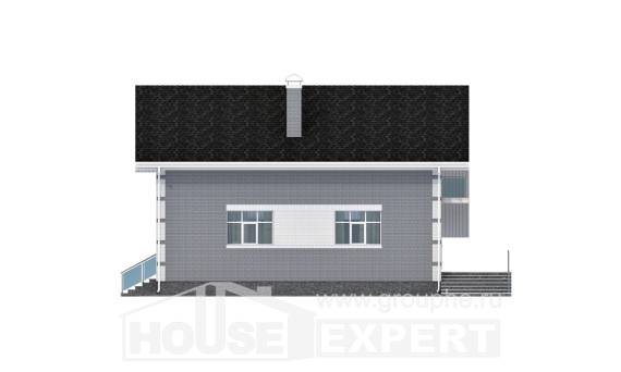 190-006-L Two Story House Plans with mansard with garage under, modern House Plan