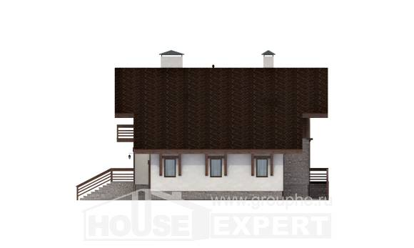420-001-R Three Story House Plans with mansard roof with garage, cozy Home House