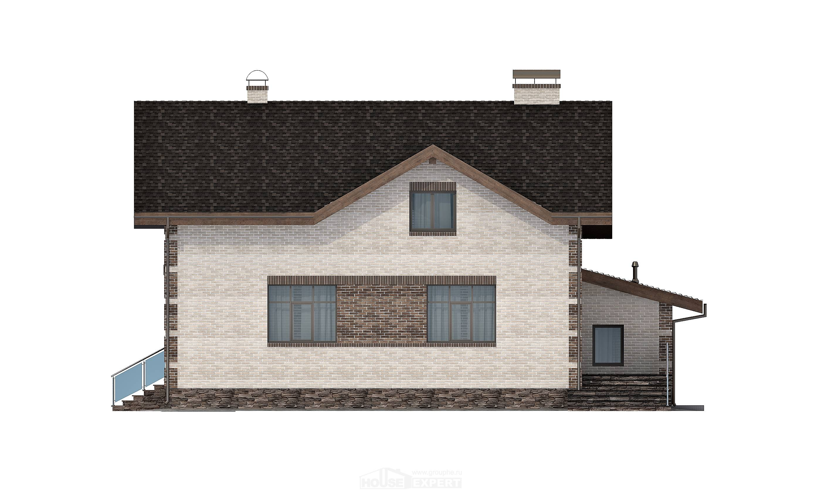 245-005-R Two Story House Plans with mansard with garage, classic Custom Home Plans Online
