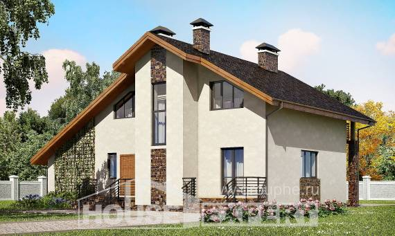180-008-R Two Story House Plans with mansard roof with garage in front, best house Building Plan