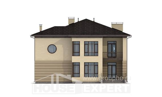 300-006-R Two Story House Plans with garage under, luxury House Plan