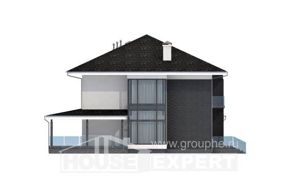 245-002-R Two Story House Plans with garage under, classic House Blueprints