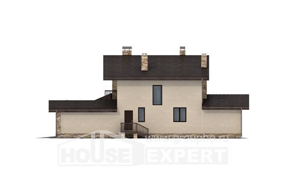 220-001-L Two Story House Plans with mansard roof with garage under, beautiful Blueprints
