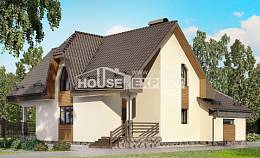 150-001-L Two Story House Plans with mansard roof with garage, economical Drawing House