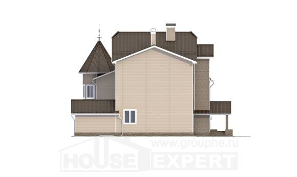 555-001-L Three Story House Plans with mansard roof and garage, spacious Design Blueprints