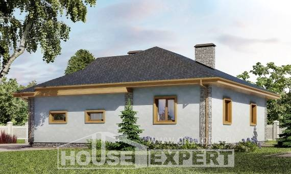 130-006-R One Story House Plans with garage, small Floor Plan