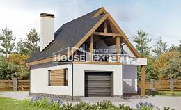120-005-R Two Story House Plans and mansard with garage, compact Home House