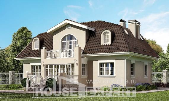 210-001-L Two Story House Plans and mansard, modern Design House