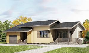 135-002-L One Story House Plans with garage under, the budget Villa Plan