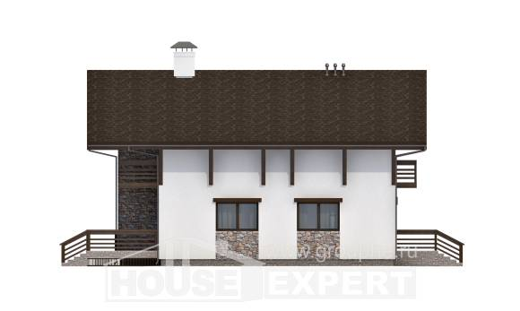 280-001-R Two Story House Plans with mansard roof and garage, big Cottages Plans
