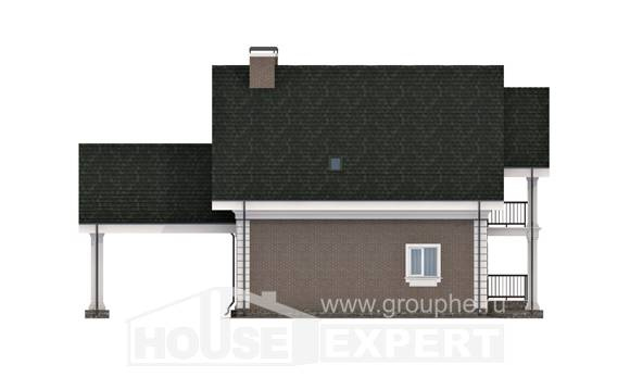 140-003-R Two Story House Plans with mansard roof with garage in back, the budget Home Plans