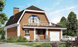 160-006-R Two Story House Plans with mansard with garage, small Models Plans