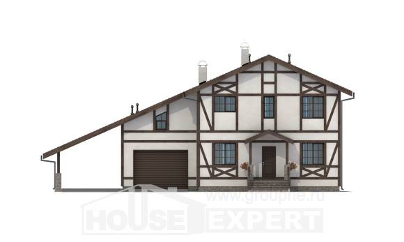 250-002-L Two Story House Plans and mansard and garage, average Home House