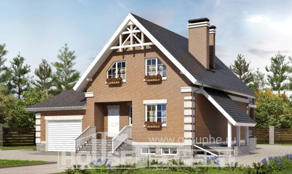 200-009-L Three Story House Plans with mansard roof and garage, a simple Construction Plans