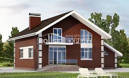 180-001-L Two Story House Plans with mansard roof and garage, the budget Home House