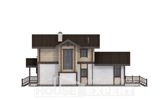 190-004-R Two Story House Plans with mansard with garage under, modern Architectural Plans