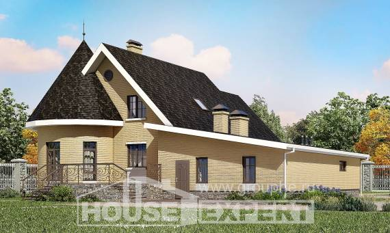 250-001-L Two Story House Plans with mansard with garage under, best house Plans Free