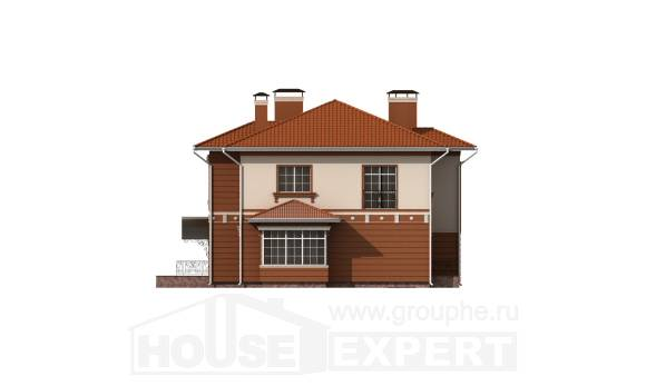 285-001-L Two Story House Plans with garage in back, spacious Design Blueprints