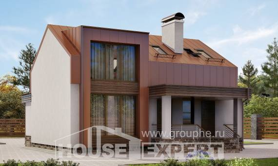 120-004-L Two Story House Plans with mansard roof, the budget Architect Plans