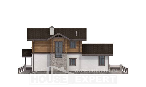 170-004-L Two Story House Plans with mansard with garage under, available House Planes