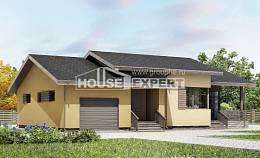 135-002-L One Story House Plans with garage under, the budget Construction Plans