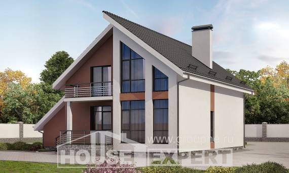 200-007-R Two Story House Plans with mansard with garage in front, luxury Home Blueprints