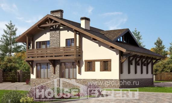 190-007-L Two Story House Plans with mansard and garage, beautiful Custom Home