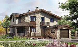 220-001-L Two Story House Plans with mansard with garage, modern Villa Plan